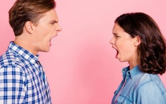 angry couple shouting at each other in their relationship