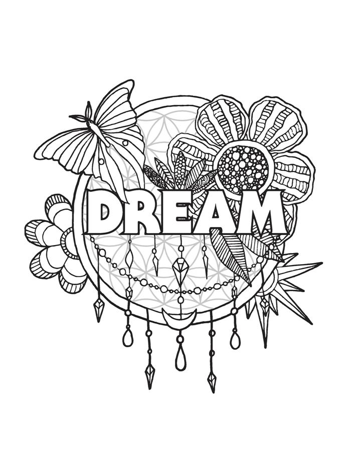 dream adult coloring page