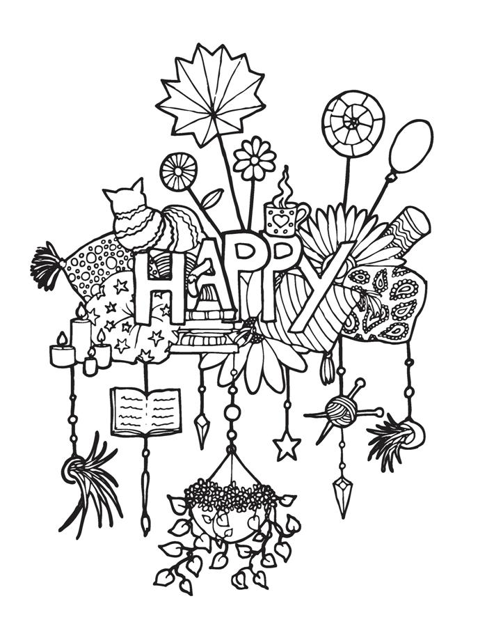 happy adult coloring page