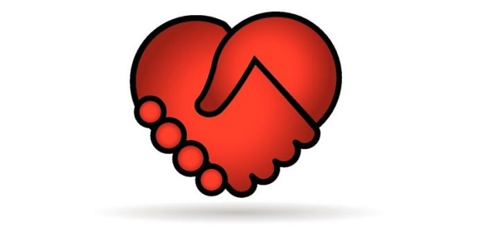 illustration of two hands shaking that form the shape of a red heart - illustrating compromise in a relationship