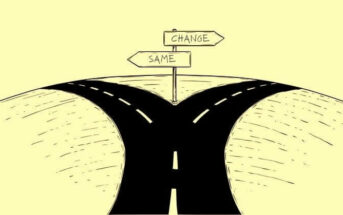 illustration of a fork in the road to signify a person changing