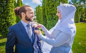 wedding of a woman in Muslim dress and a non-Muslim man