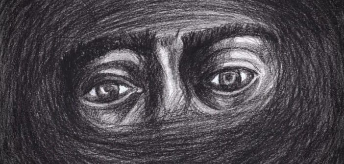 pencil sketch of eyes looking out through fog of depression illustrating finding reasons to live