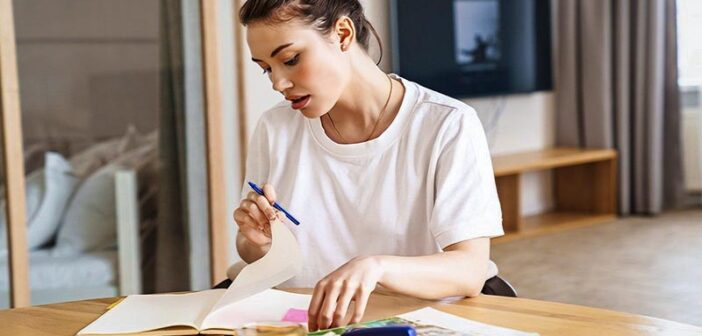 ambitious young woman studying hard