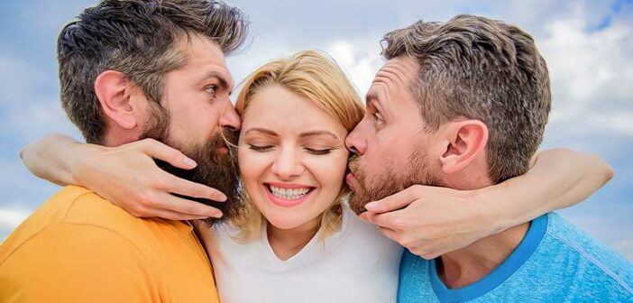 two men kissing each cheek of a woman illustrating an open relationship