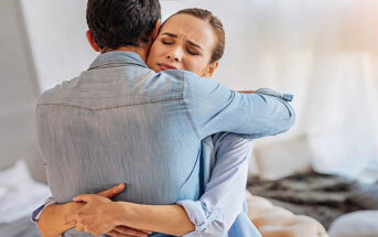 relieved woman hugging her partner after making the relationship work