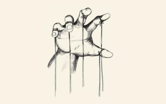 drawing of a hand with puppet strings coming off each finger - illustrating the concept of control issues