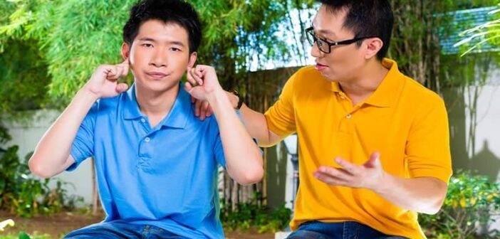 father being condescending to his son who doesn't want to hear it