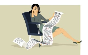 illustration of a stressed woman looking at a very long to-do list