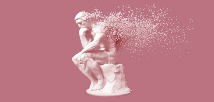 3D illustration of Rodin's The Thinker disintegrating - a metaphor for changing the way you think