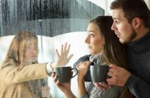 young couple surprised as ex-girlfriend appears at window - illustrating dating your friend's ex