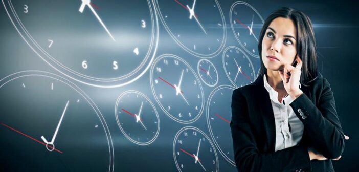 woman thinking with illustrations of stopwatch dials in the background - signifying thinking faster