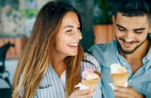 guy and girl eating ice cream on a second date