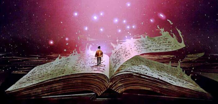 illustration of a man walking on a book - starting a new chapter in life