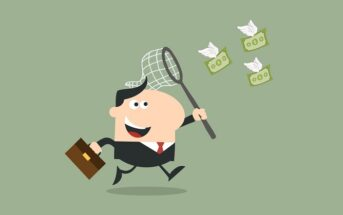 illustration of businessman chasing money with a net